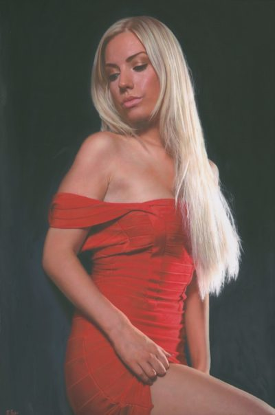 Royal Artist Darren Baker - Extra Large Oil Painting On Canvas For Sale - Lady In Red - In Waiting VI - Ultra Realism Artwork - Art - Artists - Darren Baker